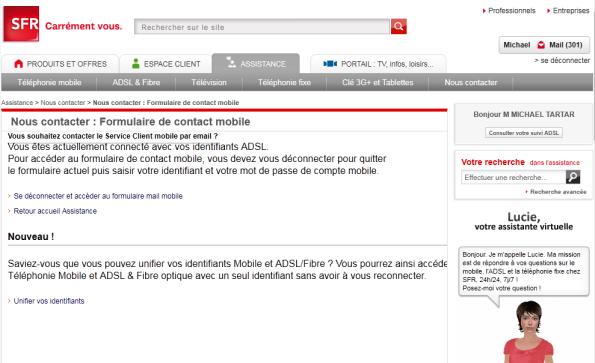 SFR Envoi d'email au service client