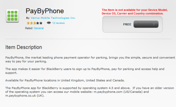 PayByPhone sur BlackBerry App World